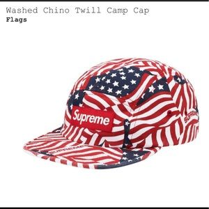 Supreme washed chino twill cap (flags)